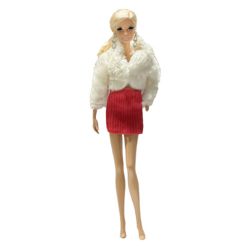 """Handmade Fashion Winter White faux-fur Outfit /& Short Hot Skirt For 11.5/"""" Doll"""