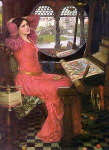 Arts & Crafts WATERHOUSE Pre-Raphaelite Print LADY OF SHALOTT Medieval Camelot
