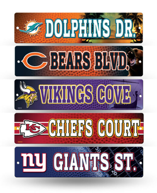 """NFL Football Street Sign 3.75"""" x 16"""" - Pick your team!!"""