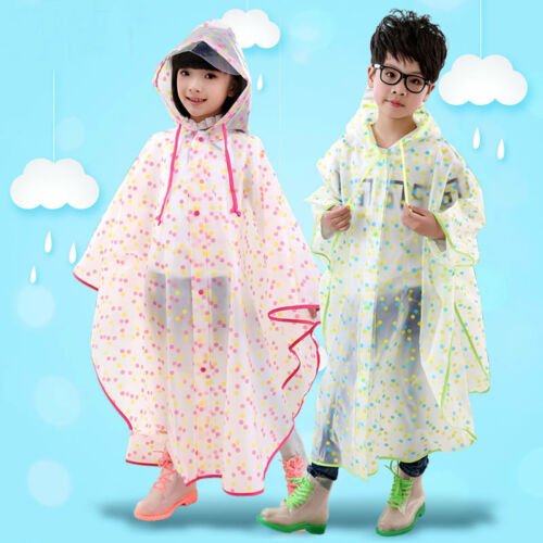 Boys Girls Raincoat Rainwear Kids Poncho Rain Cape Hooded Waterproof EVA Cloak