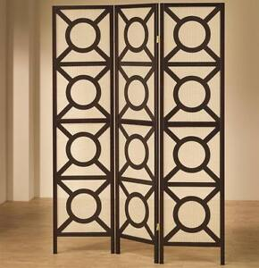 Cappuccino Brown Finish Folding Screen with Circle X Design by Coaster 900090