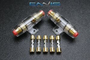 2-AGU-FUSE-HOLDER-W-5-30-AMP-4-6-8-10-GAUGE-IN-LINE-GLASS-AWG-WIRE-GOLD