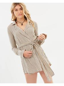 Rue Stiic Joaquin Wrap Dress Sand Stripe Größe S RRP