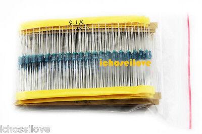 1000 Pcs 50 Values 1/4W Metal Film Resistors Resistance Assortment Kit Set 1%