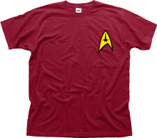 Star Trek Command Insignia Patch movie fancy dress burgundy cotton t-shirt 01075