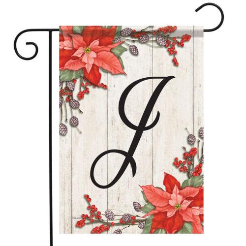 """Poinsettia Christmas Monogram J Garden Flag 2 Sided Floral Letter J 12.5/"""" x 18/"""""""