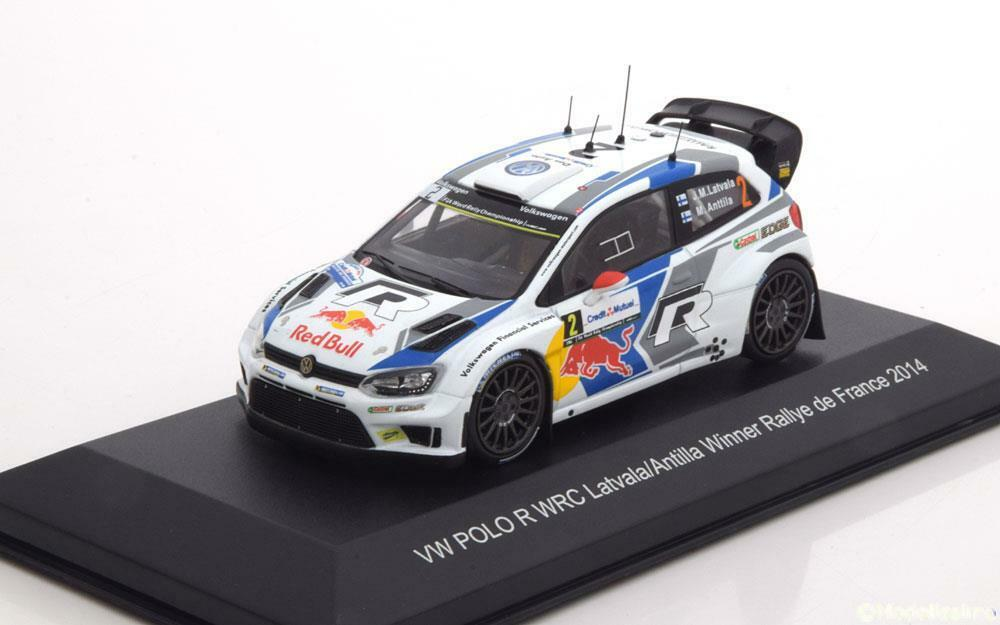 VW POLO R WRC  2 LATVALA ANTILLA WIN RALLY FRANCE 2014 blancBOX WBR013 1 43