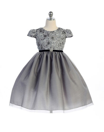 Image 0 of Stunning Silver Infant Flower Girl, Holiday, Party Dress, Crayon Kids USA