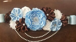 Maternity Sash Belt Brown Blue White Flower Belt Baby Shower