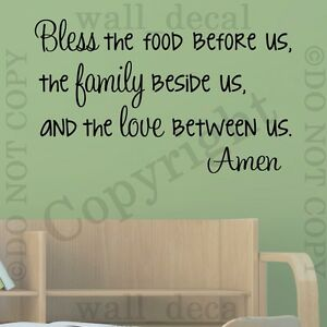 Bless This Food Before Us Amen Family Kitchen Wall Decal