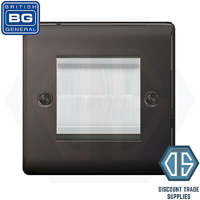 BG Nexus Single /& Double Gang Brush Stripe Cable Entry Wall Face Plate TV Outlet
