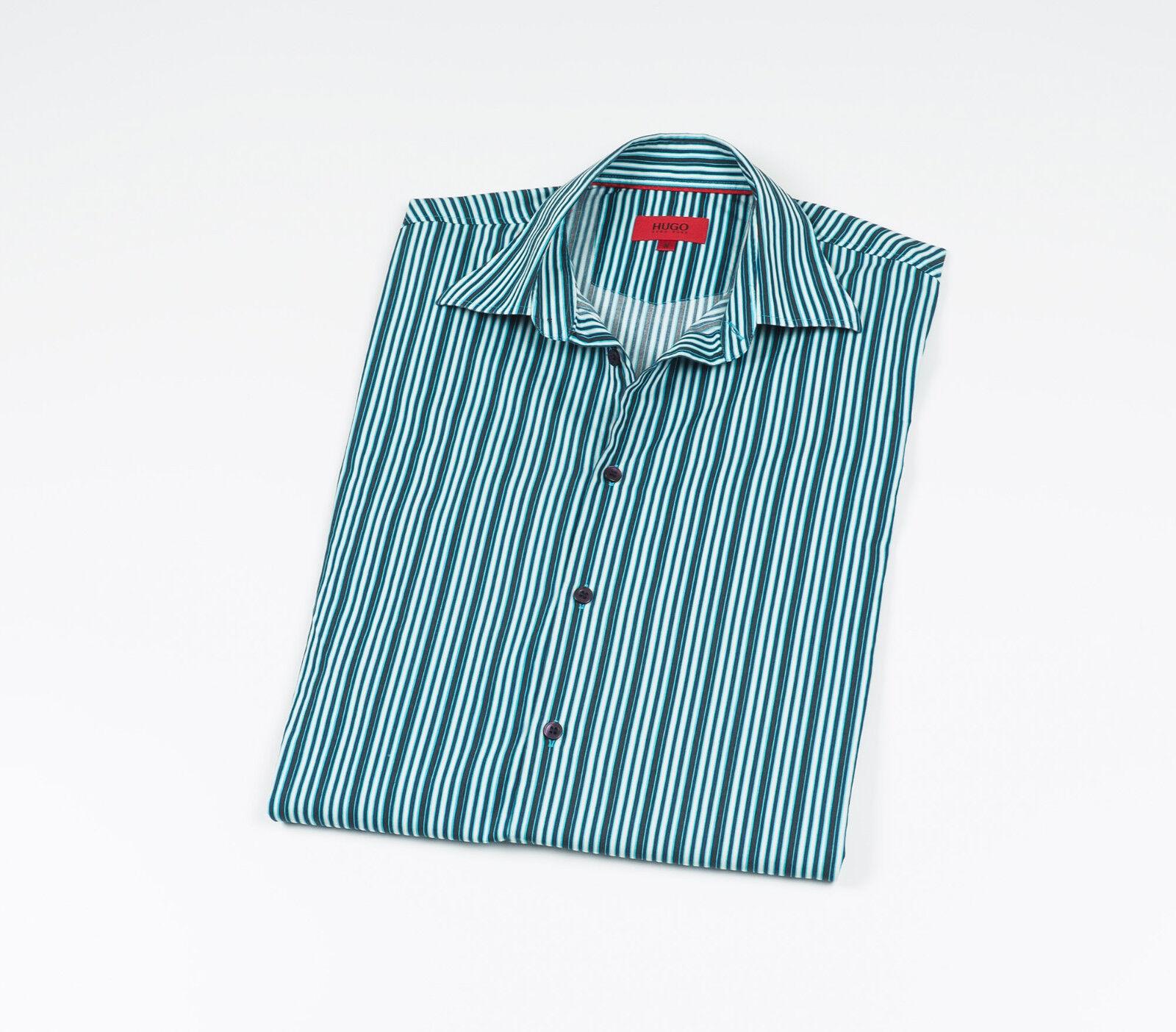 e7d002eb4 HUGO Hugo Boss Men's bluee striped long sleeved Casual Shirt Size Medium  nwosvc2989-Casual Button-Down Shirts