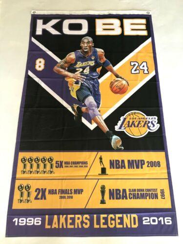 Kobe Bryant 3ftx5ft flag banner accomplishments Los Angeles black mamba new art