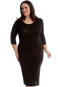 Bodycon Dress Party Plus Womens Glitter Size Ladies Nouvelle Sparkles Lorex Midi ZUx1nx