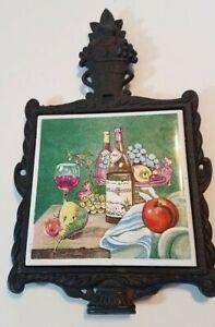 Vintage Cast Iron Tile Trivet Norleans Japan Ceramic Still Life - Fruit and Wine