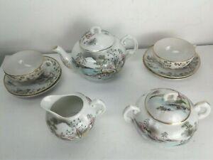Vintage-Lot-Handpainted-Japan-Lusterware-Teapot-Sugar-Bowl-Creamer-Cup-Saucers