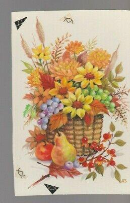 "Flowers In Basket Fruit Berries 4.5x6.5"" #7909 Thanksgiving Greeting Card Art Sturdy Construction Original Comic Art"