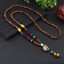 Lange-Halskette-Nepal-Boho-Anhaenger-Retro-Vintage-Holz-Handgefertigt-Perlen Indexbild 19