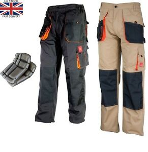 wide selection of designs hot-selling most desirable fashion Details about Work Trousers Mens Cargo Combat Style Heavy Duty Knee pads  pockets With KNEEPADS