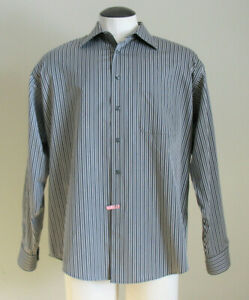 Pronto Uomo Men's Brown Striped Long Sleeve Dress Shirt Size XL