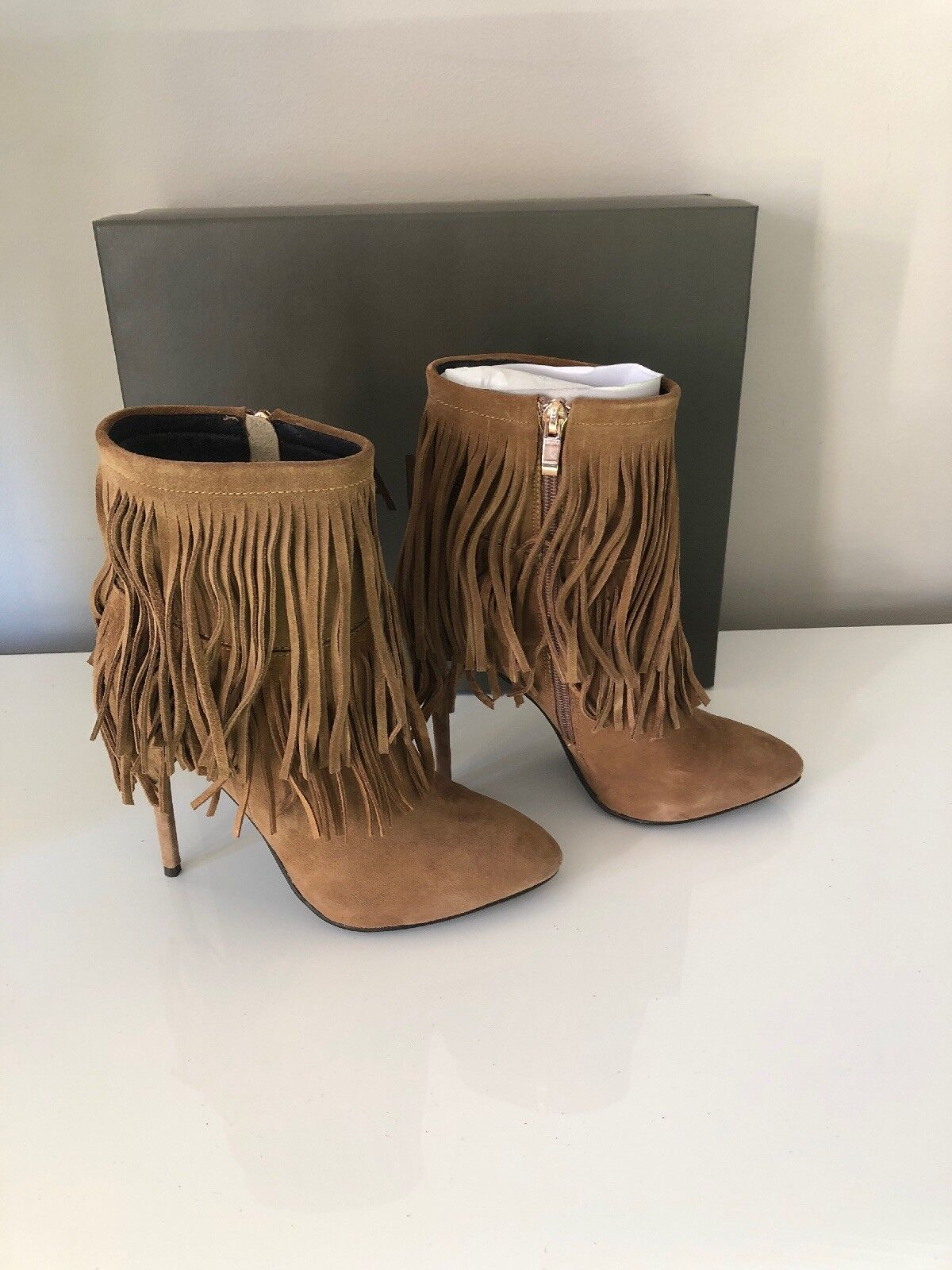 BRAND NEW BOXED DANIEL Positive Brown Suede Fringed Stiletto Ankle Boot 2.5 35