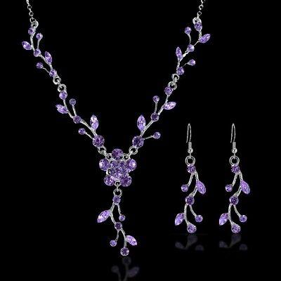 """Rosa Hochzeit Halskette Ohrringe Brautschmuck Factories And Mines Jewelry Sets Ambitious Schmuckset """"leaves"""" Collier Lila Jewelry & Watches"""