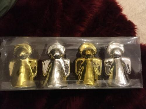Quatre belles métallisé or et argent ZARA HOME Ange Bougies Noël Entièrement neuf dans sa boîte