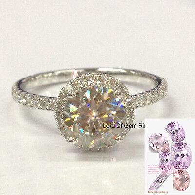 7mm Charles & Colvard Moissanite Diamonds Engagement Wedding Ring,14K White Gold