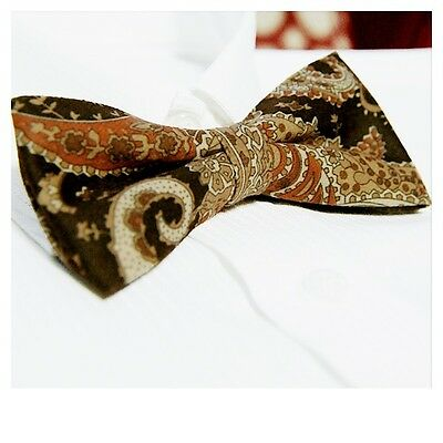 *BRAND NEW* SUEDE FEEL PAISLEY D/BROWN MENS BOWTIE B348