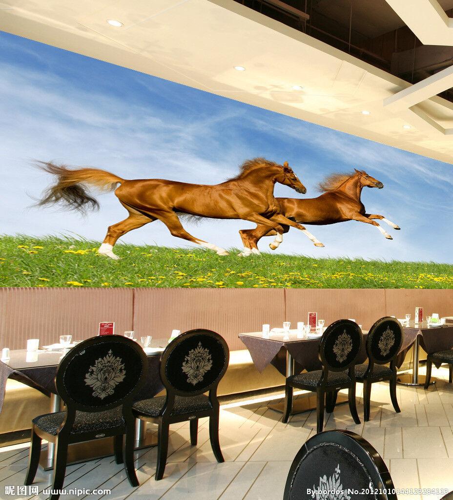 3D Sky Lawn Horse 882 Wallpaper Mural Paper Wall Print Wallpaper Murals UK Lemon