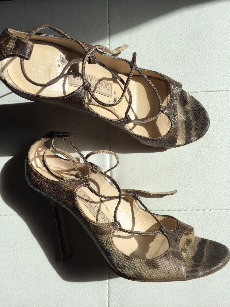 Jimmy Choo Boutique Real Snake Skin Sandals Heels  Uk 4 Eu 37