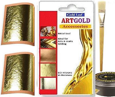 Gilding Arts Crafts Leaves Framing 24ct 10x 24k Gold Leaf Sheets 45mm Square