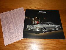 1975 PONTIAC GRAND PRIX SALES BROCHURE / CATALOG + RETAIL PRICE LIST