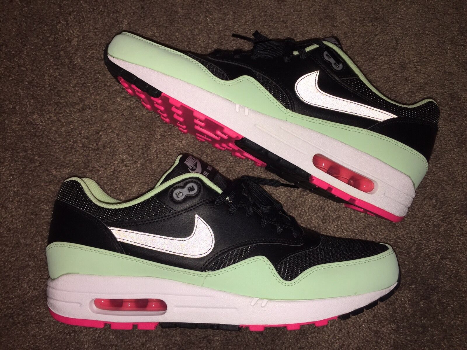 a9d6bc92a586aa Nike Air Max 1 FB Black Fresh MINT Green Pink Flash White Yeezy ...