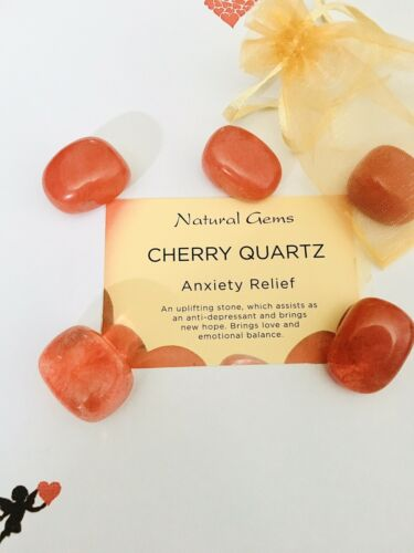 **Lovely Cherry Quartz Gemstone 20-30mm Free Organza Bag And Card