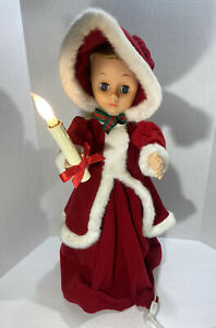 """Rennoc Christmas Caroler Victorian Girl Motionette Animated 24"""" Red Outfit"""
