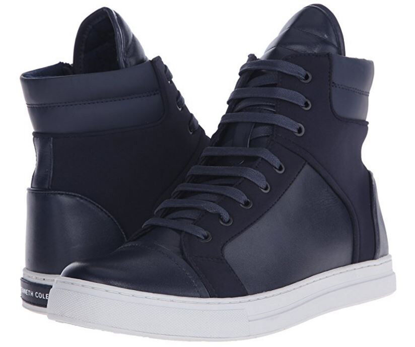 Kenneth Cole Mens Double Header Casual Lace Up High Fashion Sneakers shoes Kicks