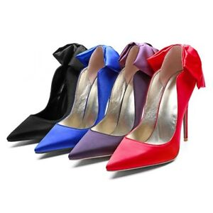 Womens-Slip-On-Pointed-Toe-Big-Bow-knot-Stiletto-Pumps-High-Heels-Prom-Shoes-Sz