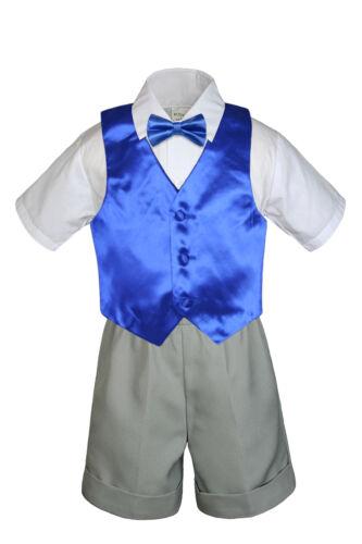 4pcBaby Boys Toddler Formal Royal Blue Vest Bow tie Black Khaki Shorts Set Sm-4T