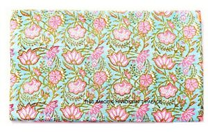 Indian-Hand-Block-Print-3-Yard-Fabric-Voile-Cambric-Natural-100-Cotton-Garment