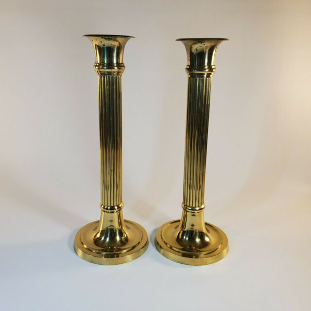 Pair Of Solid Brass 14 Pillar Candlesticks Made In India Ebay
