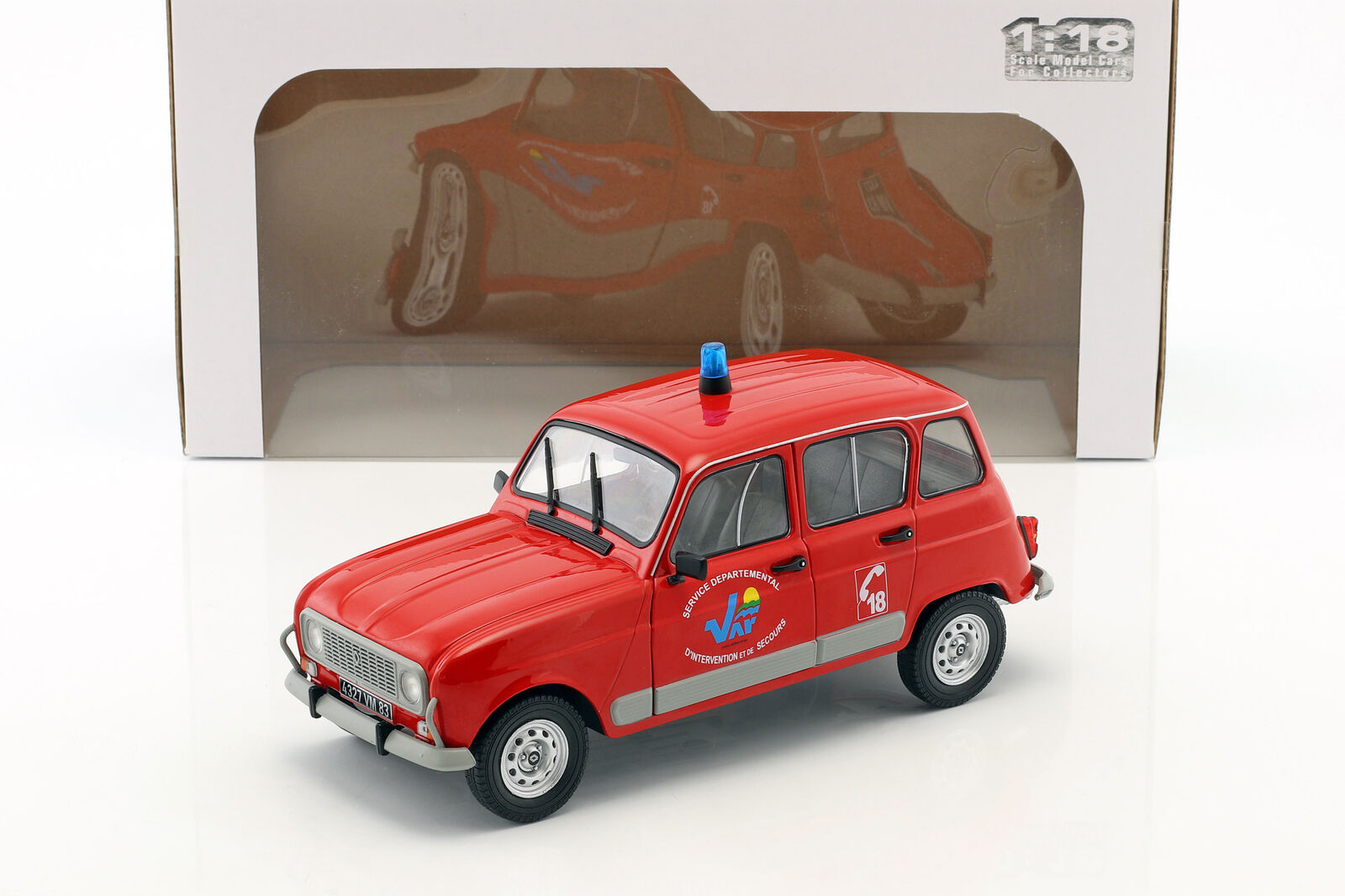 RENAULT 4 GTL Pompiers Rouge 1 18 Solido