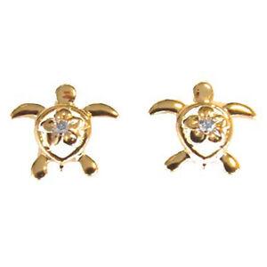 Image Is Loading 14k Solid Gold Diamond Sea Turtle Earrings Length
