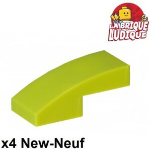 Lego - 4x Slope curved pente courbe 1x2 vert citron/lime 11477 NEUF
