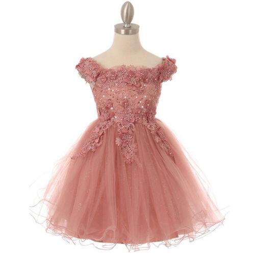 MAUVE Flower Girl Dress Bridesmaid Party Wedding Dance Formal Graduation Prom