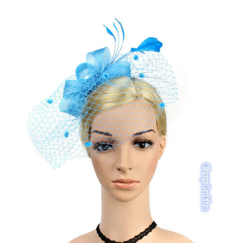 Feather Polka Dot Mesh Retro Vintage Gatsby Style Racing Wedding Carnival Hats