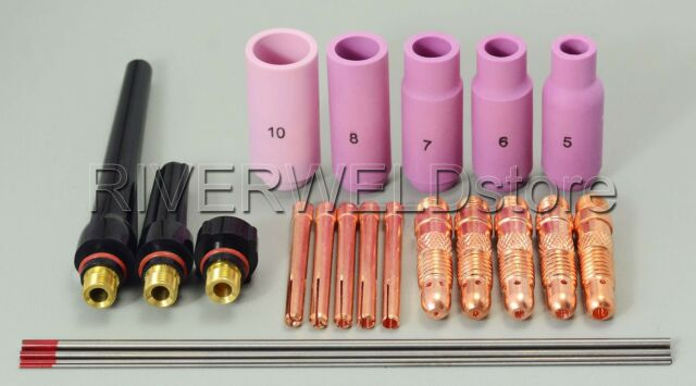 TIG KIT & Collets Bodies Nozzle Consumables Accessories FIT SR WP 17 18 26, 22pc