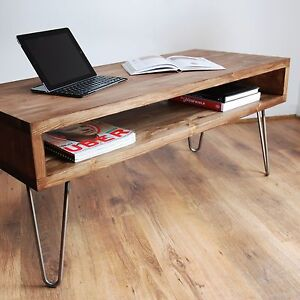 vintage retro box coffee table with metal hairpin legs solid wood rustic ebay. Black Bedroom Furniture Sets. Home Design Ideas