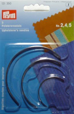 3 PIECES 131 350 FREE P/&P PRYM CURVED UPHOLSTERER/'S NEEDLES NO.2,4,5 ASSORTED