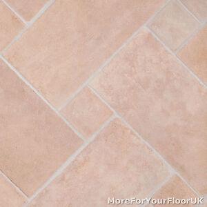 3.8mm Thick Vinyl Flooring Soft Beige Stone Brick Tile Effect Lino ...